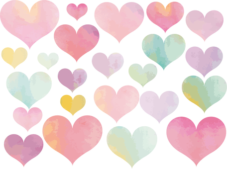 Colorful pastel color hearts