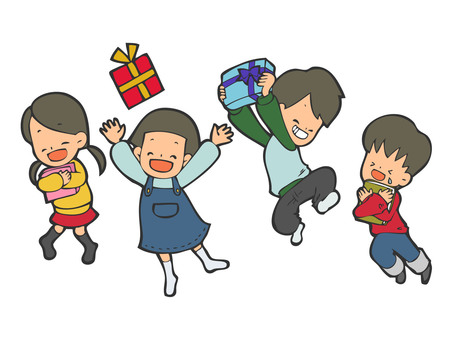 Children who are happy to receive gifts