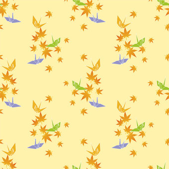 Folding crane and autumn leaves wallpaper (yellow series)