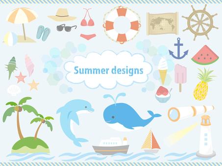 Various sets of summer design