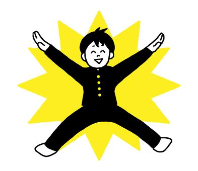 Jumping school run Male student (simple)