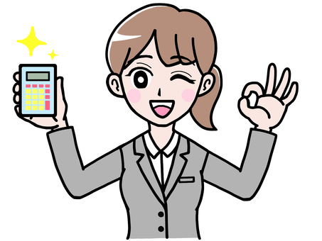 Woman full version of OK sign suit with calculator