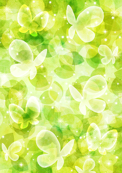 Watercolor style fresh green and butterfly glitter background