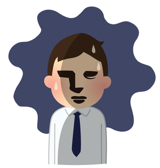 Illustration of the person who worries [dramatic style, office worker]