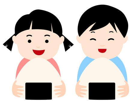 Two people eating rice balls
