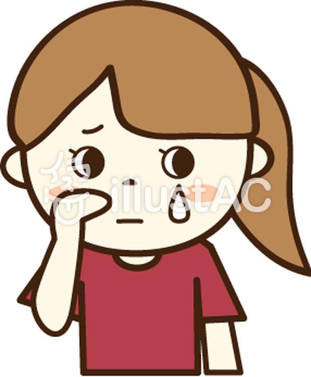 赤いtシャツの女の子悲しい顔1イラスト No 456052無料イラスト