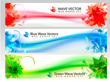 Web banner set (wave)