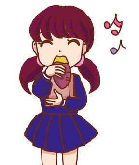 吃烤三文魚的女孩