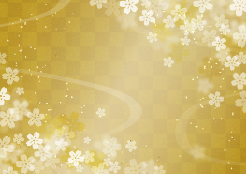 Japanese Pattern Gold Gold Cherry Blossoms 2