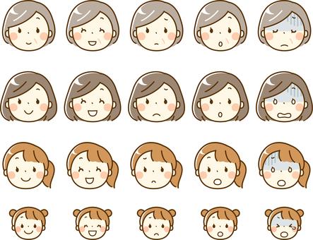 每個年齡段的女性_各種面部表情設定