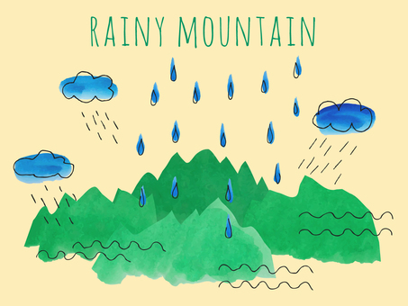 Illustration with rain and mountains [watercolor and hand drawn]