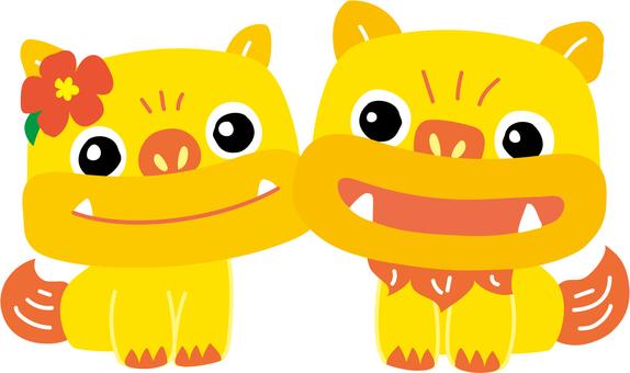黄色いシーサー