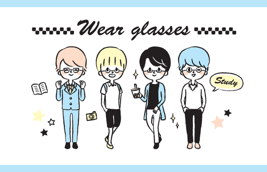 Glasses boy handwritten illustration set