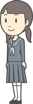 Junior high school sailor woman -241-whole body