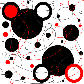A lot of red and black circles