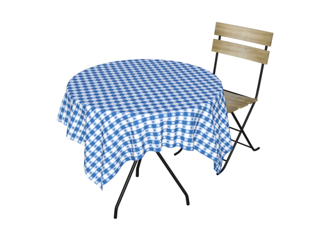 Cafe table and chair (blue)