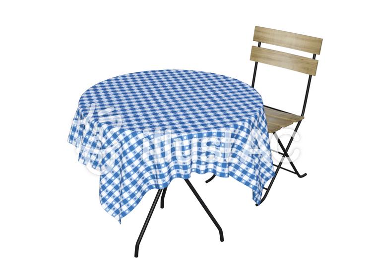 カフェテーブルと椅子(ブルー)のイラスト