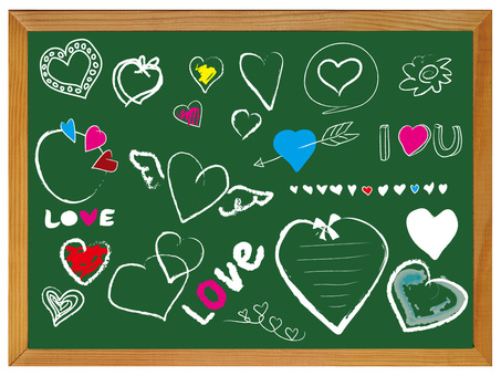Heart drawn on the blackboard