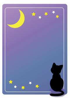 Black cat and Moon frame