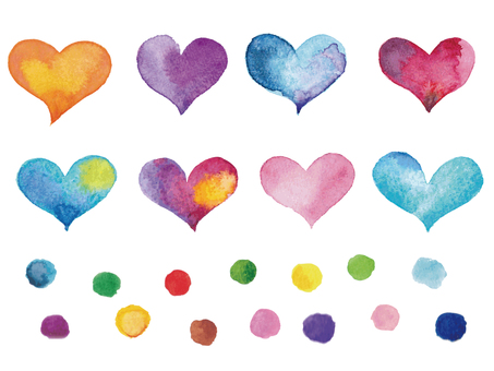 Watercolor heart and polka dots -1