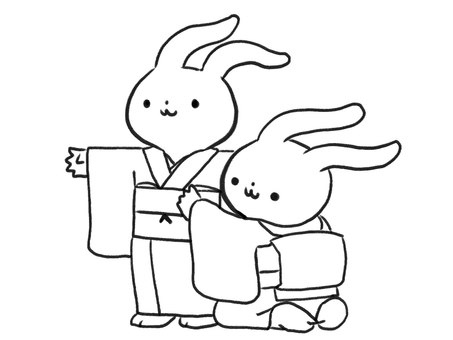 [Line drawing] Rabbits to wear kimono