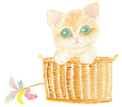 Kittens hand-painted watercolor painting