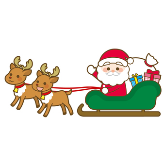 Santa Claus on a reindeer sled
