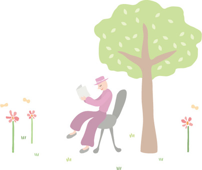 Hat man / tree and reading