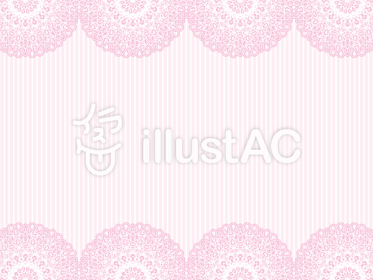 ピンクのレース素材とストライプ柄の背景のイラスト