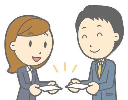 Suit men and women - business card exchange - bust