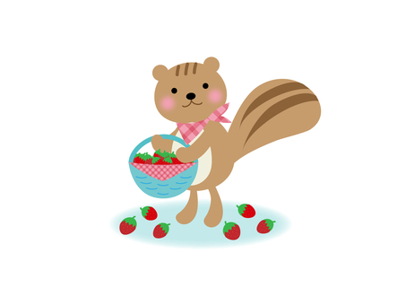 Illustration with a basket containing strawberries