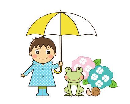 비오는 날 남자와 개구리