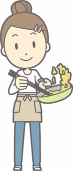 Apron housewife c - stir fry - whole body