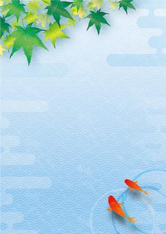 酷藍色秋天的落葉和金魚框架