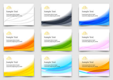 Colorful curved lines abstract background material set