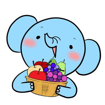 과일 바구니와 코끼리 물