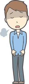 ブルー襟シャツ男性-026-全身
