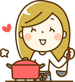 요리를하는 주부