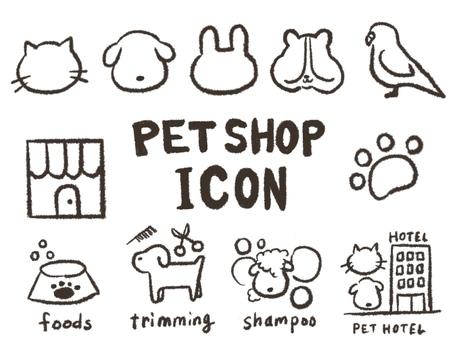 Pet shop hand drawn icons