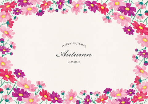 Autumn background frame 004 cosmos watercolor