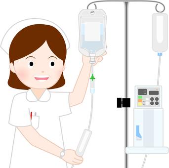 A nurse preparing an infusion