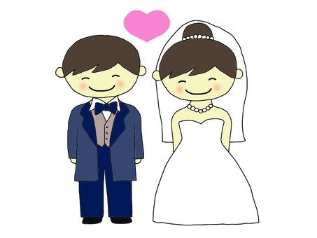 Wedding cute bride and groom
