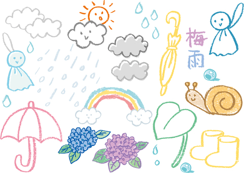 Crayon illustration of the rainy season