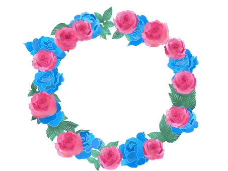 Blue and red rose wreath