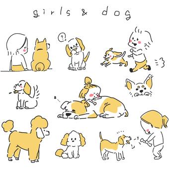 여자 강아지 일러스트 세트