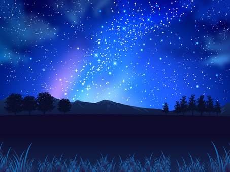 Summer star and night sky and field background 02