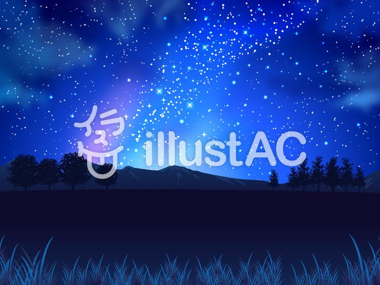 夏の星と夜空と原っぱの背景02のイラスト
