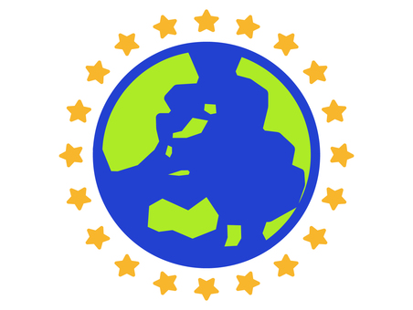 Earth and star icon
