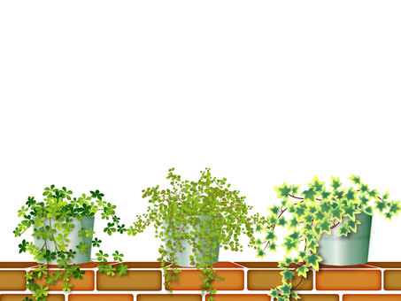 Brick and plants frame