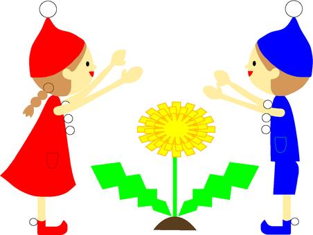 Dandelion and dwarf (sideways)